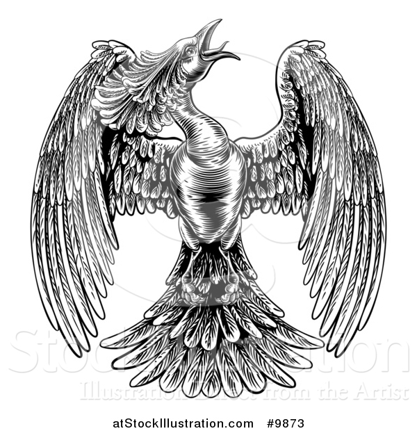 Vector Illustration of a Black and White Woodcut or Engraved Styled Phoenix Firebird