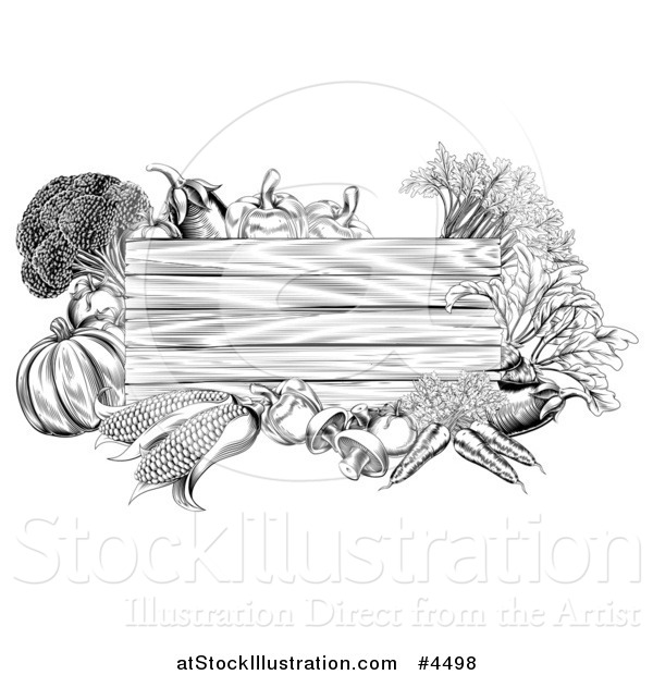 Vector Illustration of a Black and White Wooden Sign with Produce