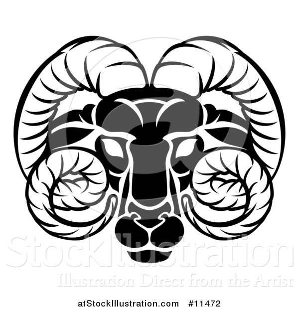 Vector Illustration of a Black and White Zodiac Horoscope Astrology Aries Ram Design