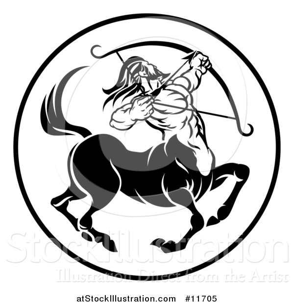 Vector Illustration of a Black and White Zodiac Horoscope Astrology Centaur Sagittarius Circle Design