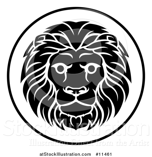 Vector Illustration of a Black and White Zodiac Horoscope Astrology Leo Lion Circle Design