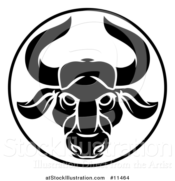 Vector Illustration of a Black and White Zodiac Horoscope Astrology Taurus Bull Circle Design