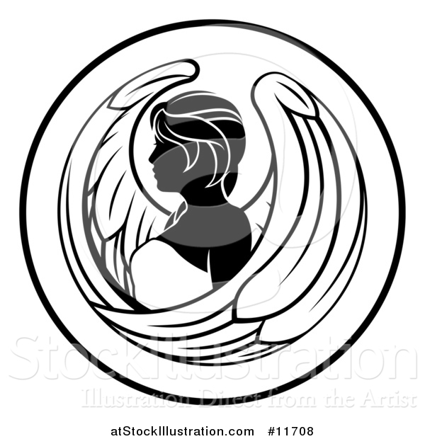 Vector Illustration of a Black and White Zodiac Horoscope Astrology Virgo Circle Design