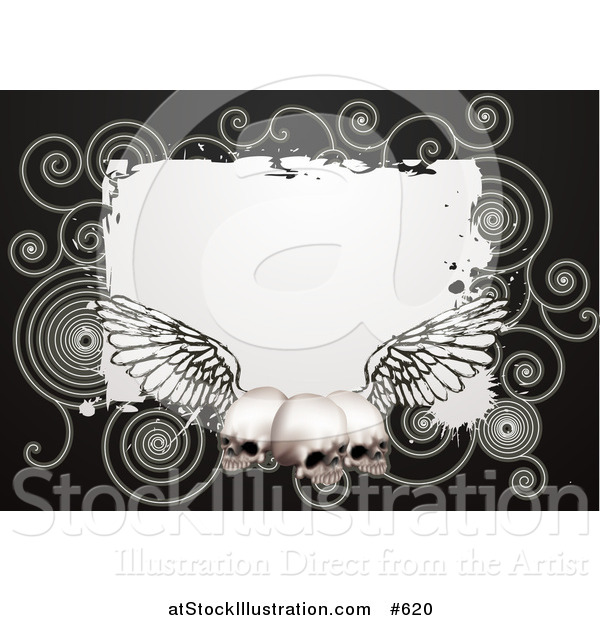 Vector Illustration of a Black Background with Spirals and Three Human Skulls with Wings