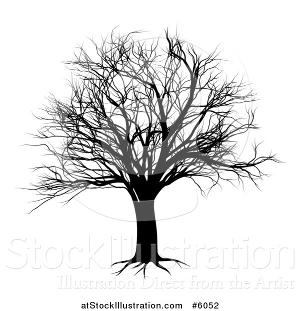 Vector Illustration of a Black Bare Tree Silhouette