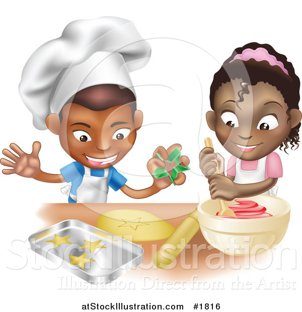 Vector Illustration of a Black Boy and Girl Making Cookies Together