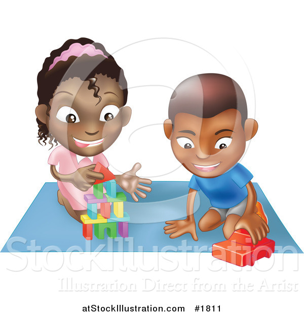 Vector Illustration of a Black Boy and Girl Playing with Toys on a Floor Together