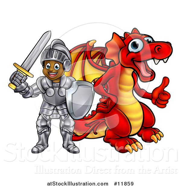 Vector Illustration of a Black Boy Knight by a Red Dragon