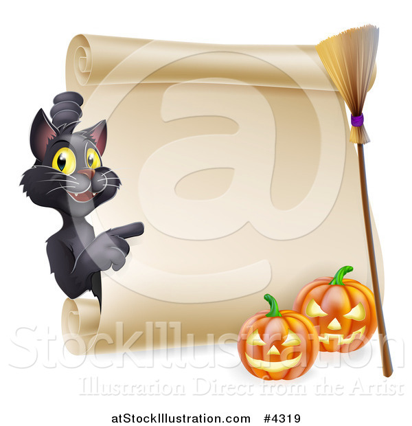 Vector Illustration of a Black Cat Pointing to a Scroll Sign with a Witch Broomstick and Halloween Pumpkins