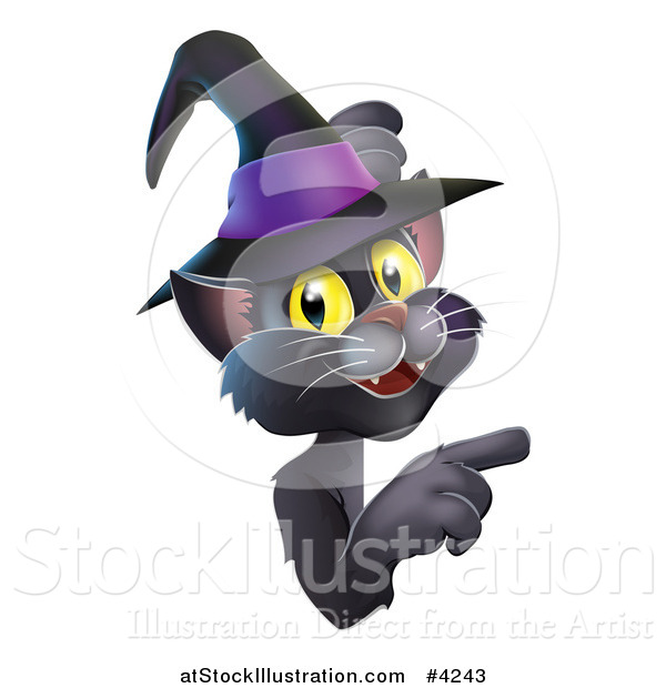 Vector Illustration of a Black Cat Wearing a Witch Hat and Pointing at a Sign