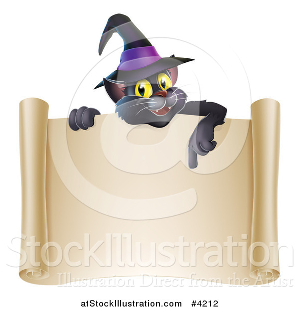 Vector Illustration of a Black Cat Wearing a Witch Hat and Pointing down at a Halloween Scroll Sign
