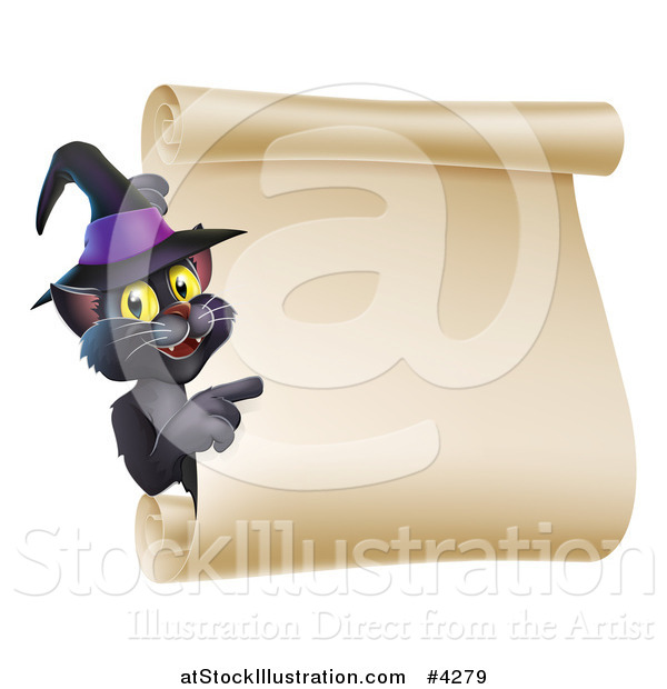 Vector Illustration of a Black Cat Wearing a Witch Hat and Pointing to a Halloween Scroll Sign