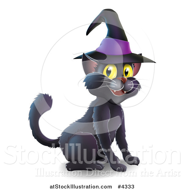 Vector Illustration of a Black Cat Wearing a Witch Hat and Sitting