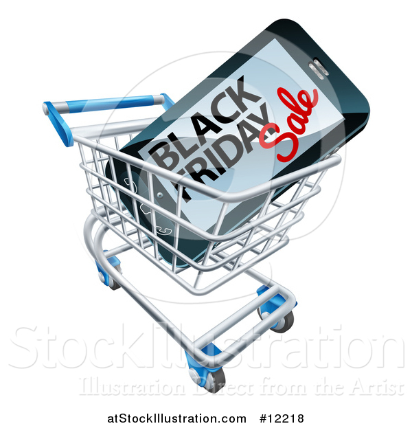Vector Illustration of a Black Friday Sale Advertisement on a Smart Phone Screen in a Shopping Cart