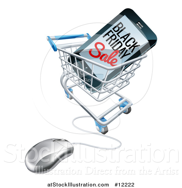 Vector Illustration of a Black Friday Sale Advertisement on a Smart Phone Screen in an Online Shopping Cart