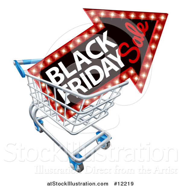 Vector Illustration of a Black Friday Sale Arrow Marquee Sign in a Shopping Cart