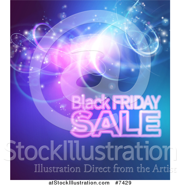 Vector Illustration of a Black Friday Sale Background with Lights over Blue