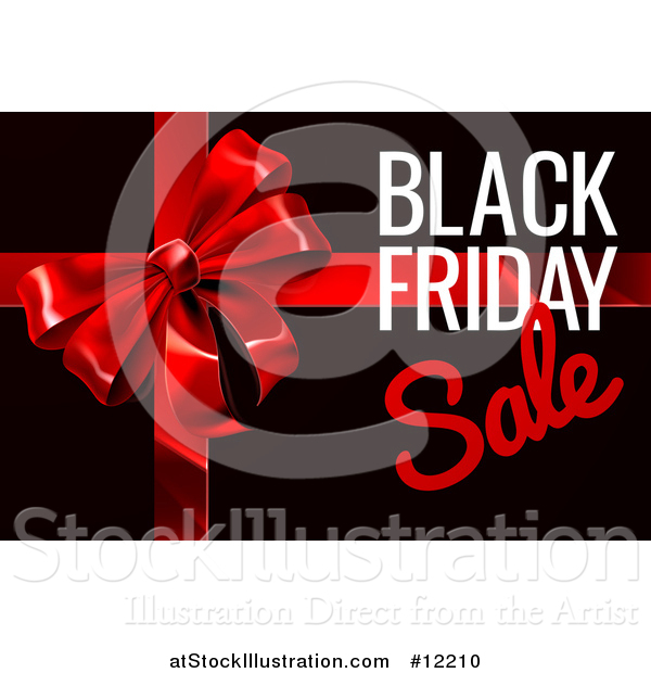 Vector Illustration of a Black Friday Sale Text Design with a Gift Bow on Black