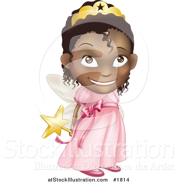 Vector Illustration of a Black Girl in a Pink Fairy Princess Costume, Holding Her Wand Behind Her Back