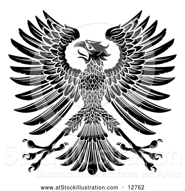 Vector Illustration of a Black Imperial Coat of Arms Eagle