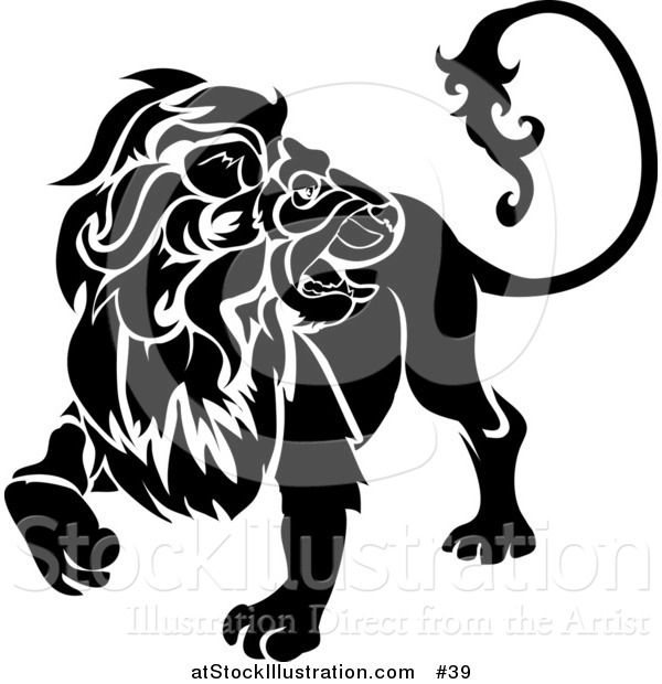 Vector Illustration of a Black Lion Looking Back: Leo, Astrological Sign of the Zodiac