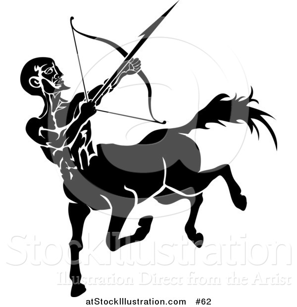 Vector Illustration of a Black Sagittarius Centaur of the Zodiac Shooting an Arrow with a Bow