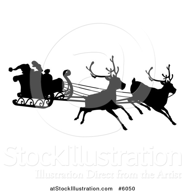 Vector Illustration of a Black Silhouette of Reindeer Flying Santa in His Sleigh