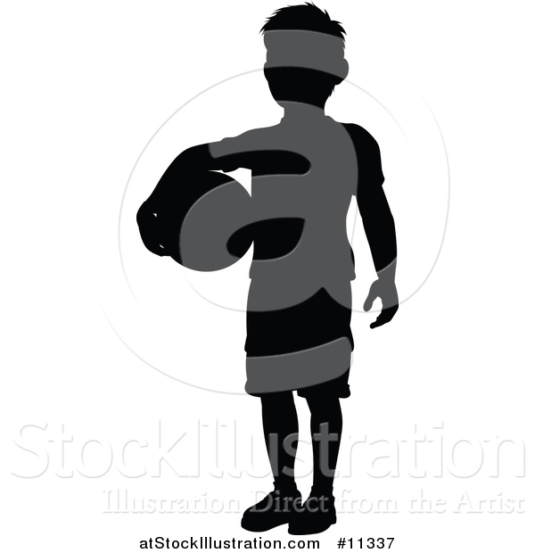 Vector Illustration of a Black Silhouetted Boy Holding a Ball
