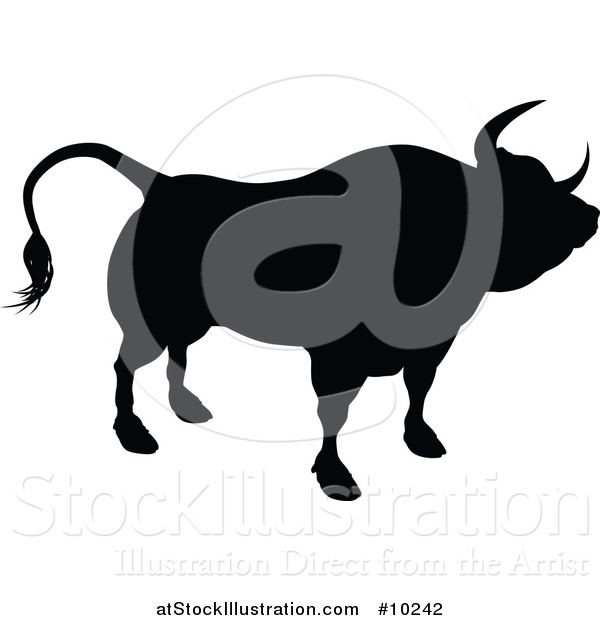 Vector Illustration of a Black Silhouetted Bull Cow