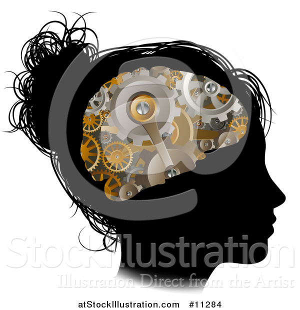 Vector Illustration of a Black Silhouetted Girl's Head in Profile with a Gear Brain