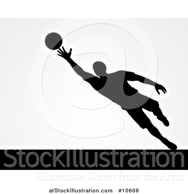 Vector Illustration of a Black Silhouetted Goal Keeper Soccer Player Blocking the Ball, over Gray