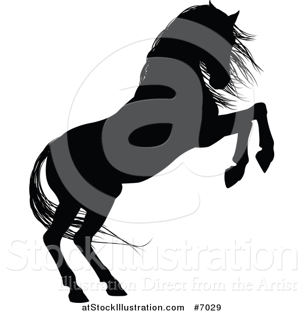 Vector Illustration of a Black Silhouetted Horse Rearing