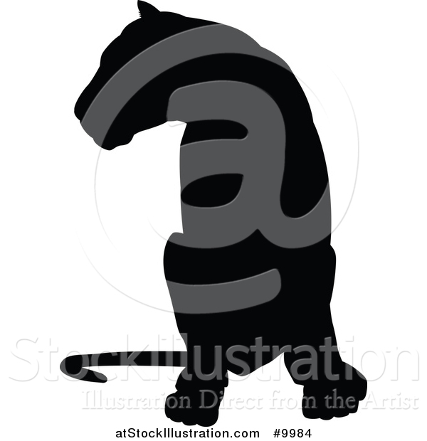 Vector Illustration of a Black Silhouetted Lioness Sitting