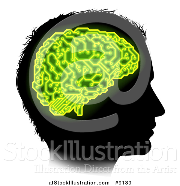 Vector Illustration of a Black Silhouetted Male Head in Profile, with a Green Brain of Electrical Circuits in Neon Green