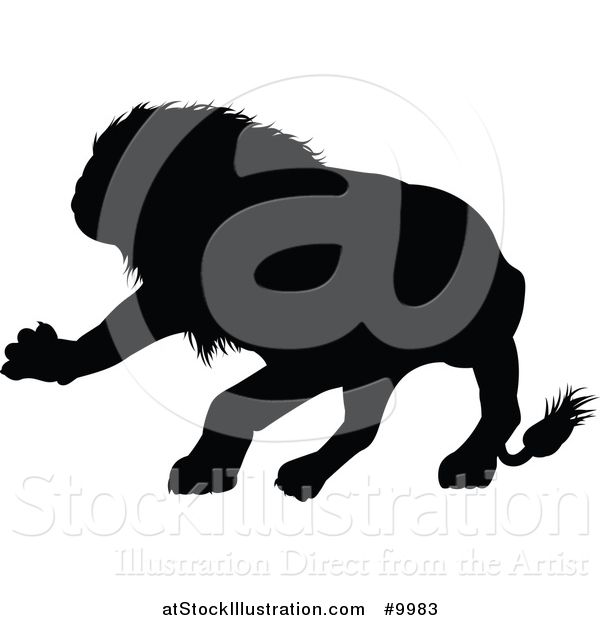Vector Illustration of a Black Silhouetted Male Lion Attacking