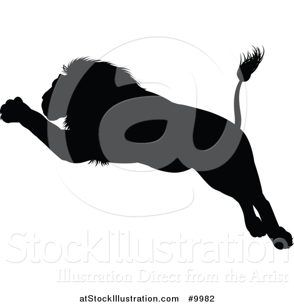 Vector Illustration of a Black Silhouetted Male Lion Leaping