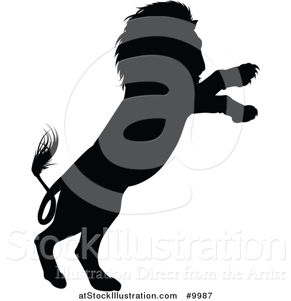Vector Illustration of a Black Silhouetted Male Lion Rearing and Attacking