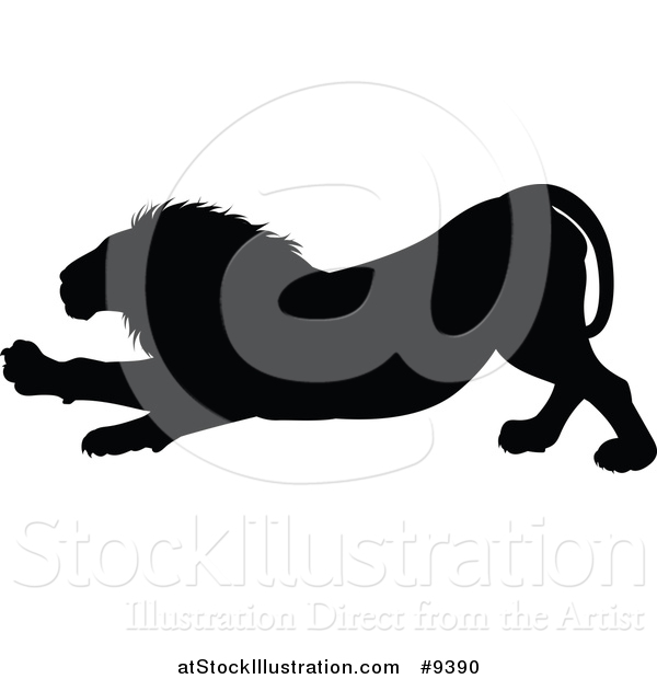 Vector Illustration of a Black Silhouetted Male Lion Stretching