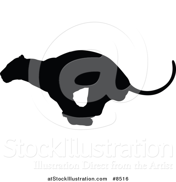 Vector Illustration of a Black Silhouetted Male Lioness Running