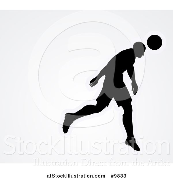 Vector Illustration of a Black Silhouetted Male Soccer Player Head Passing a Ball, over Gray