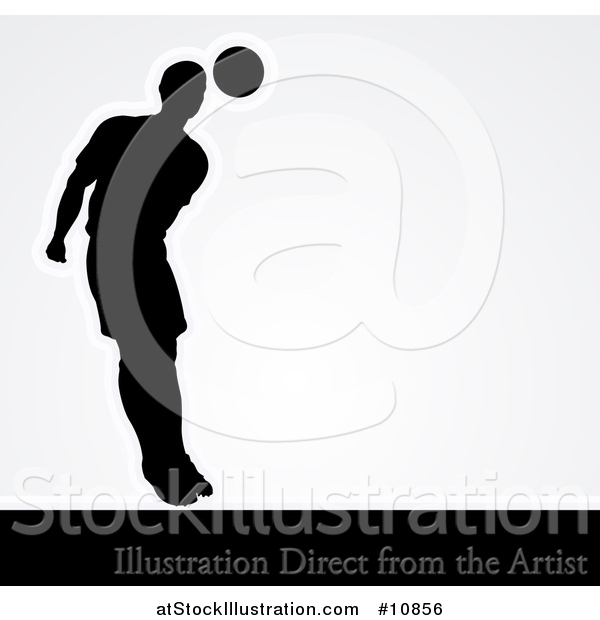 Vector Illustration of a Black Silhouetted Male Soccer Player Heading a Ball, with Shading, over Gray