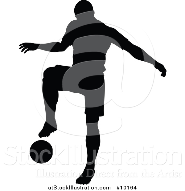 Vector Illustration of a Black Silhouetted Male Soccer Player in Action
