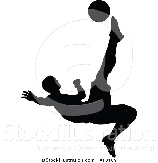 Vector Illustration of a Black Silhouetted Male Soccer Player Kicking