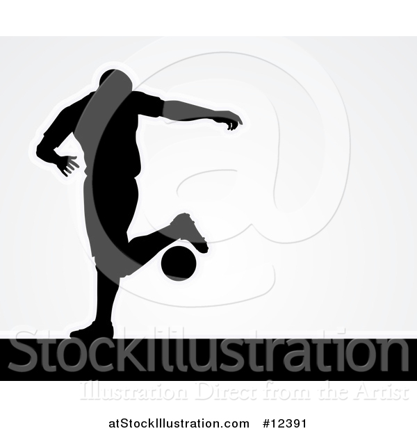 Vector Illustration of a Black Silhouetted Male Soccer Player over Gray