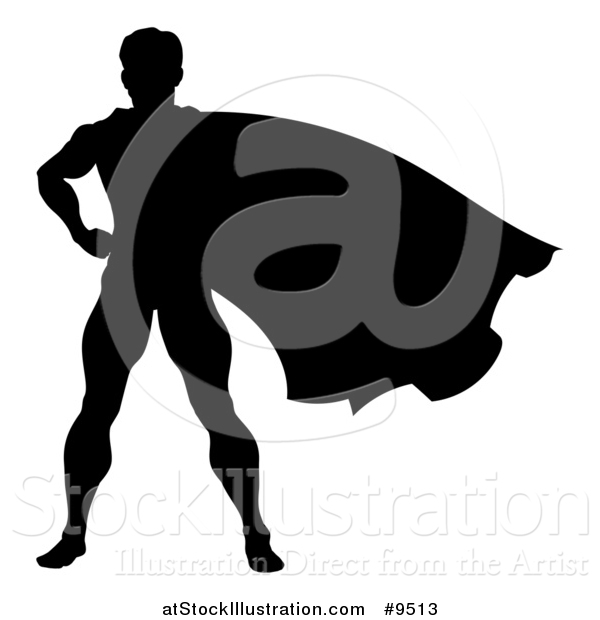 Vector Illustration of a Black Silhouetted Male Super Hero with His Cape Flying