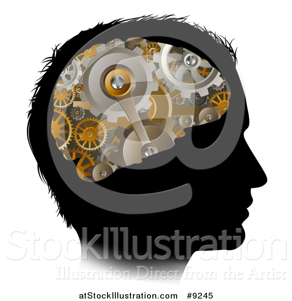Vector Illustration of a Black Silhouetted Man's Head with 3d Gear Cogs Visible in His Brain