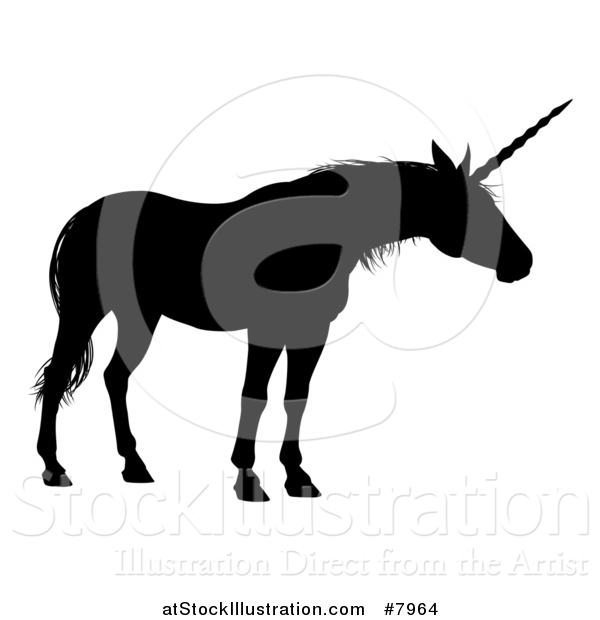 Vector Illustration of a Black Silhouetted Mythical Unicorn