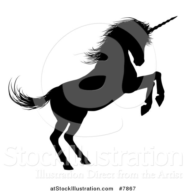Vector Illustration of a Black Silhouetted Rearing Rampant Unicorn in Profile, Facing Right