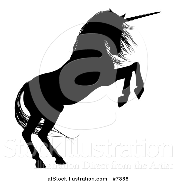 Vector Illustration of a Black Silhouetted Rearing Unicorn in Profile, Facing Right