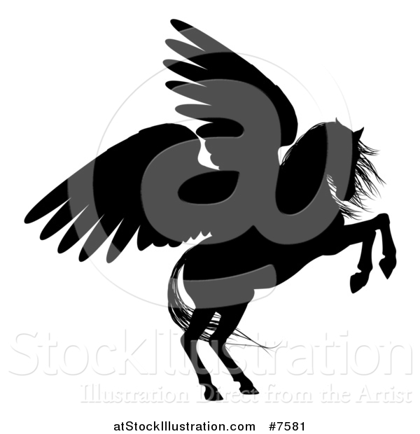 Vector Illustration of a Black Silhouetted Rearing Winged Pegasus Horse